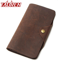 Free Ship Hot Selling Real Crazy Horse Leather Long Wallets For Men Money Clip Pursetravel Wallet Combination Price Men's Wallet