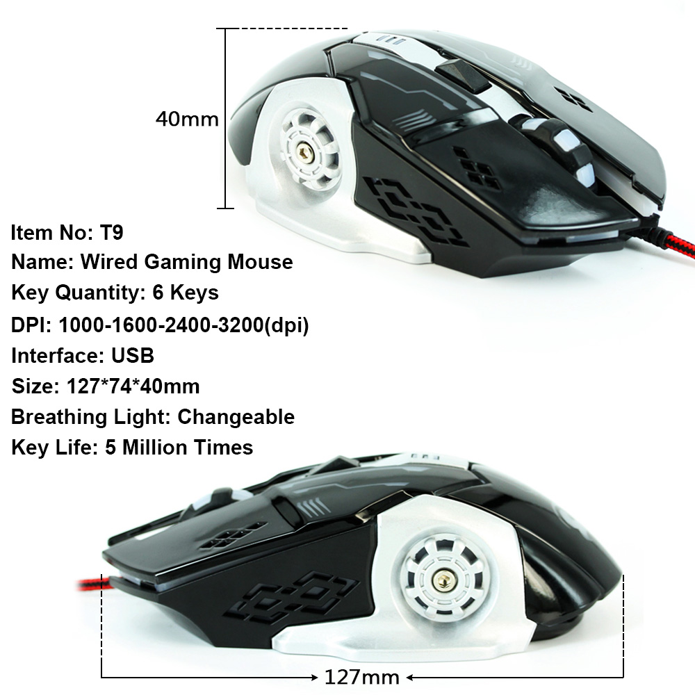 Wired PC Gaming Mouse 6 Button 3200 DPI LED Optical USB Computer Mouse Gamer Mice Game Mouse Silent Miouse for Computer Laptop in Mice from Computer Office
