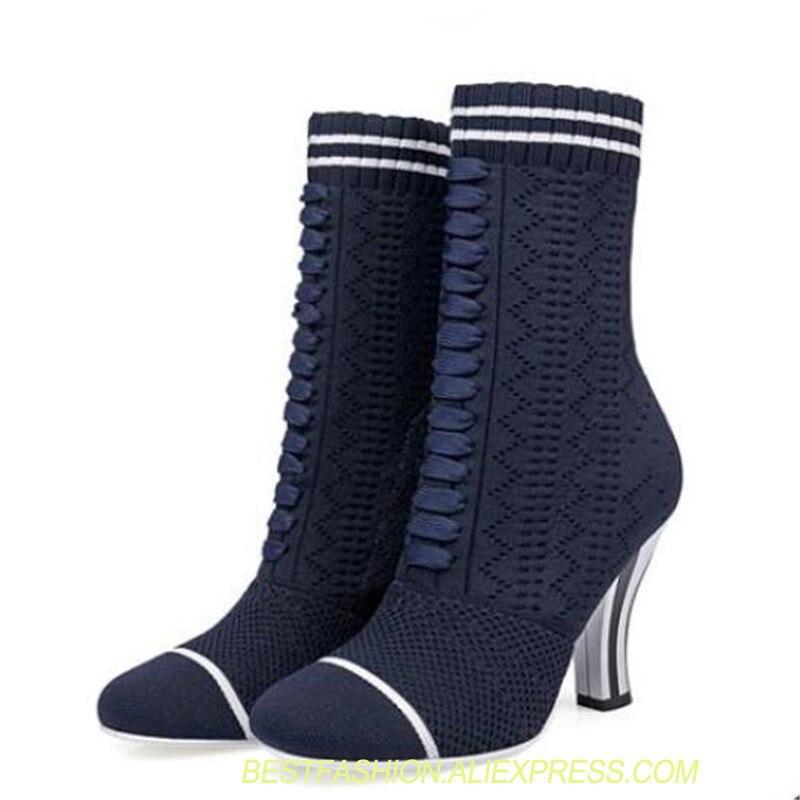 Joker di disegno di marca stivali tacco alto 9 centimetri strano tacchi alti stivali sexy della caviglia blu scuro elastico caricamenti del sistema delle signore scarpe calzini di alta taccoJoker di disegno di marca stivali tacco alto 9 centimetri strano tacchi alti stivali sexy della caviglia blu scuro elastico caricamenti del sistema delle signore scarpe calzini di alta tacco