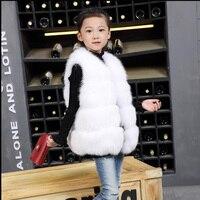 Модный жилет из лисьего меха для мам и детей, осенне зимний теплый толстый меховой жилет для маленьких девочек, детские разноцветные жилеты,