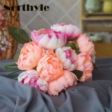 DH Peony bouquet Artificial fabric white Flowers Bridal Bouquet Fake flower wedding Decoration flowers