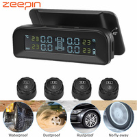 ZEEPIN C260 Tire Pressure Monitoring System Solar TPMS Universal Real time LCD Screen Tyre Pressure Alarm with 4 External Sensor