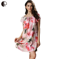 100% Satin Silk 2016 Spring Summer Ladies Women Strappy Nightdress Short Sleeve Nightgowns Women Chemise De Nuit Sexy WD3390