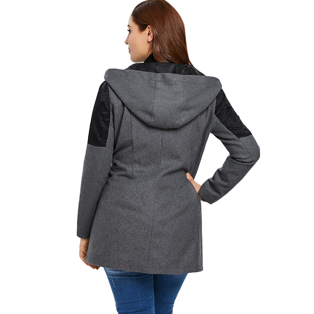 Plus Size  Zippered Coat Women Outerwear Hooded Long Sleeve