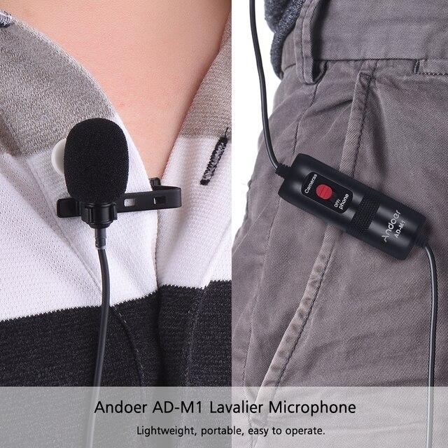 Andoer Lavalier Microfoon voor DSLR Camera Camcorder Audio Recorder Omni directionele Condensator Microfoon met Schuim Voorruit
