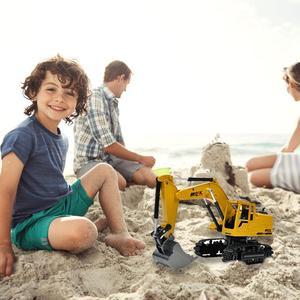 Image 2 - Fernbedienung Legierung Bau Auto Bagger 2,4G 8 CH 1:24 Legierung Bagger Kran RC Bau Fahrzeug Spielzeug Legierung Auto modell