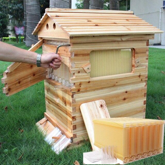 خلية النحل الخشبية الأوتوماتيكية 7 قطعة إطار خلية النحل معدات تربية النحل الخشبية خلية النحل أداة تربية النحل 1