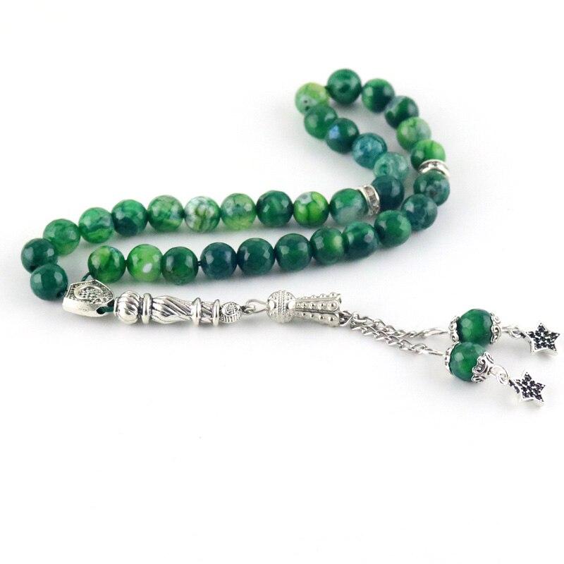 Gark Green Natural agate stone 33 beads Islamic Muslim worship Tasbih Allah ethnic wind bracelet men