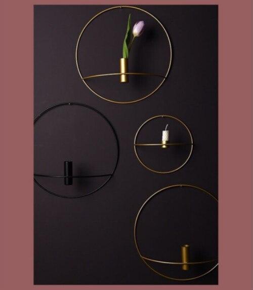 Wall Mounted Candle Holder Metal 3D Geometric Tea Light Candlestick Home Decor
