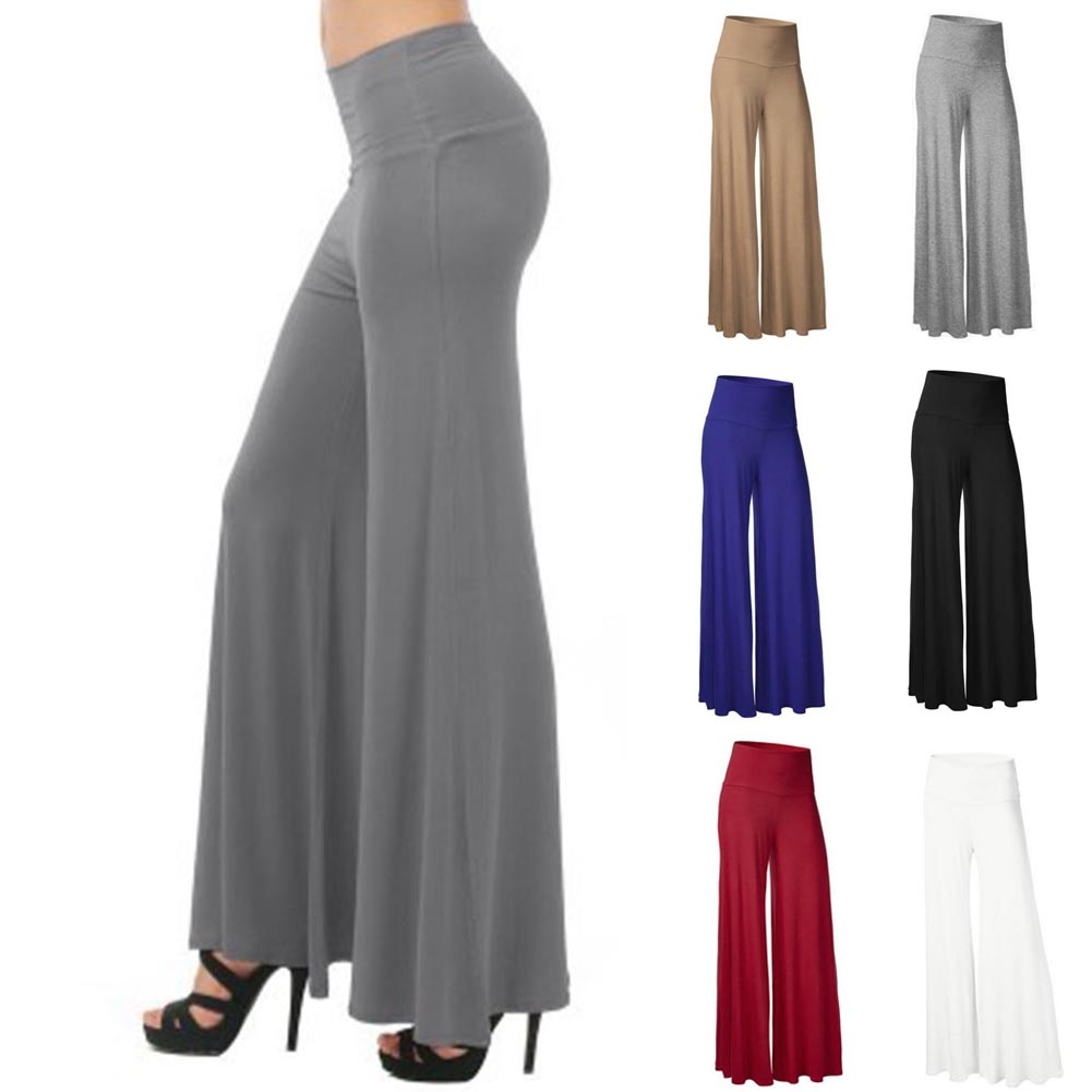 Women's Loose Stretch High Waist   Wide     Leg   Long   Pants   2019 Fashion Plus Size 2XL Casual Pleated OL Office Party Palazzo Trousers