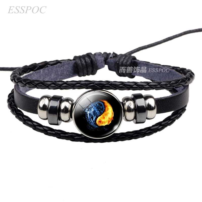 Cabochon de Vidro Pulseira De Couro Símbolo Yin Yang Tai Chi Yin Yang Jóias Weave Multilayer Charm Bracelet