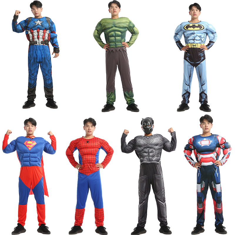 Superhero Costume Cosplay Men Captain America Superman Batman Spiderman Iron Man Hulk Muscle Costume Halloween Costume Adult