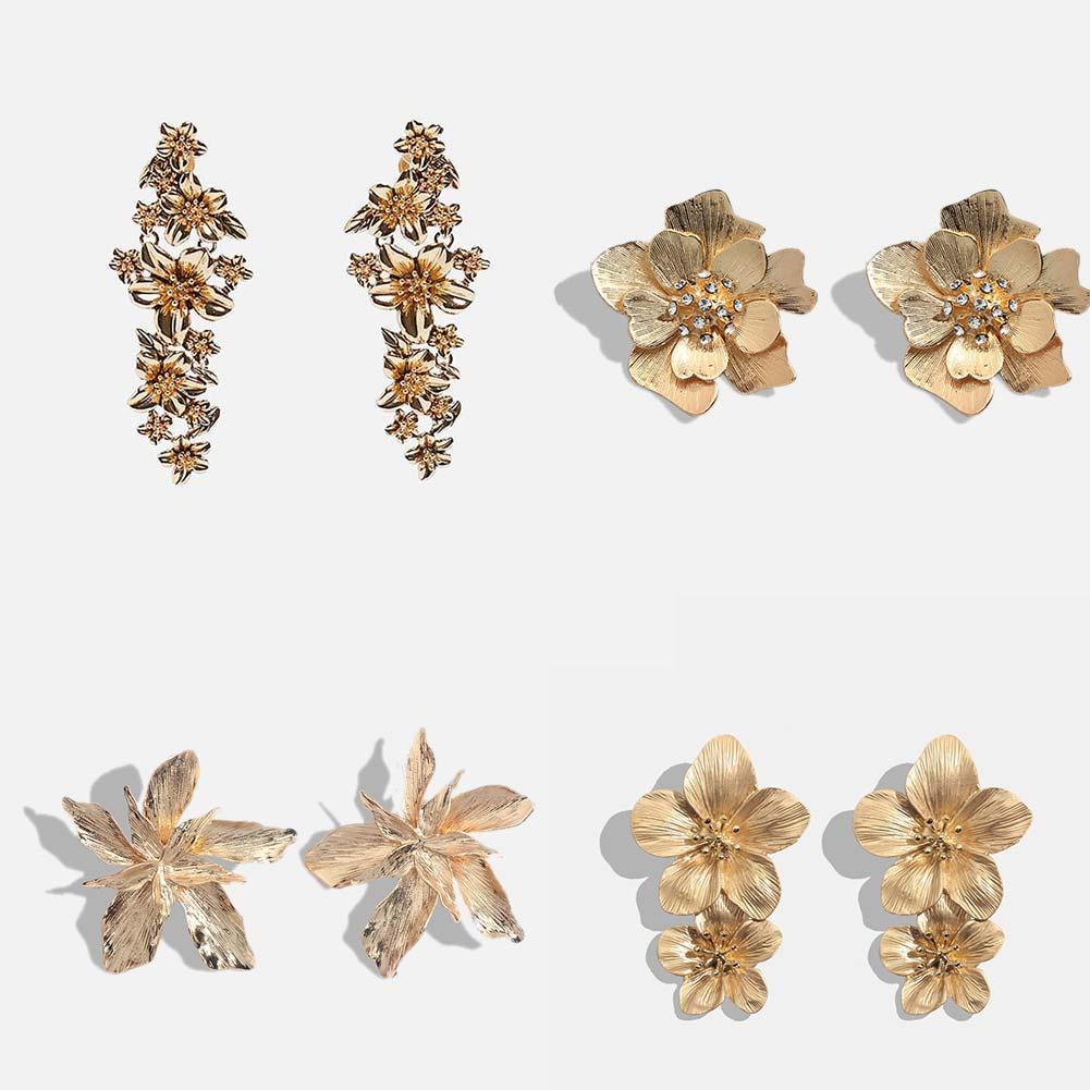 Flatfoosie 2019 Vintage Flowers Dangle Earrings For Women Bohemian Fringed Drop Earring Gold Silver Color Shiny Metal Jewelry