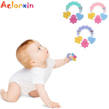 1Pcs Baby Teethers Rattle Rings Silicone Massager Infant Training Tooth Toddler Beads  Bell Toys Newborn Nursing
