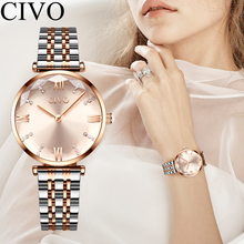 CIVO Fashion Luxury Top Brand Crystal Watches Ladies Waterproof Steel Strap Wome
