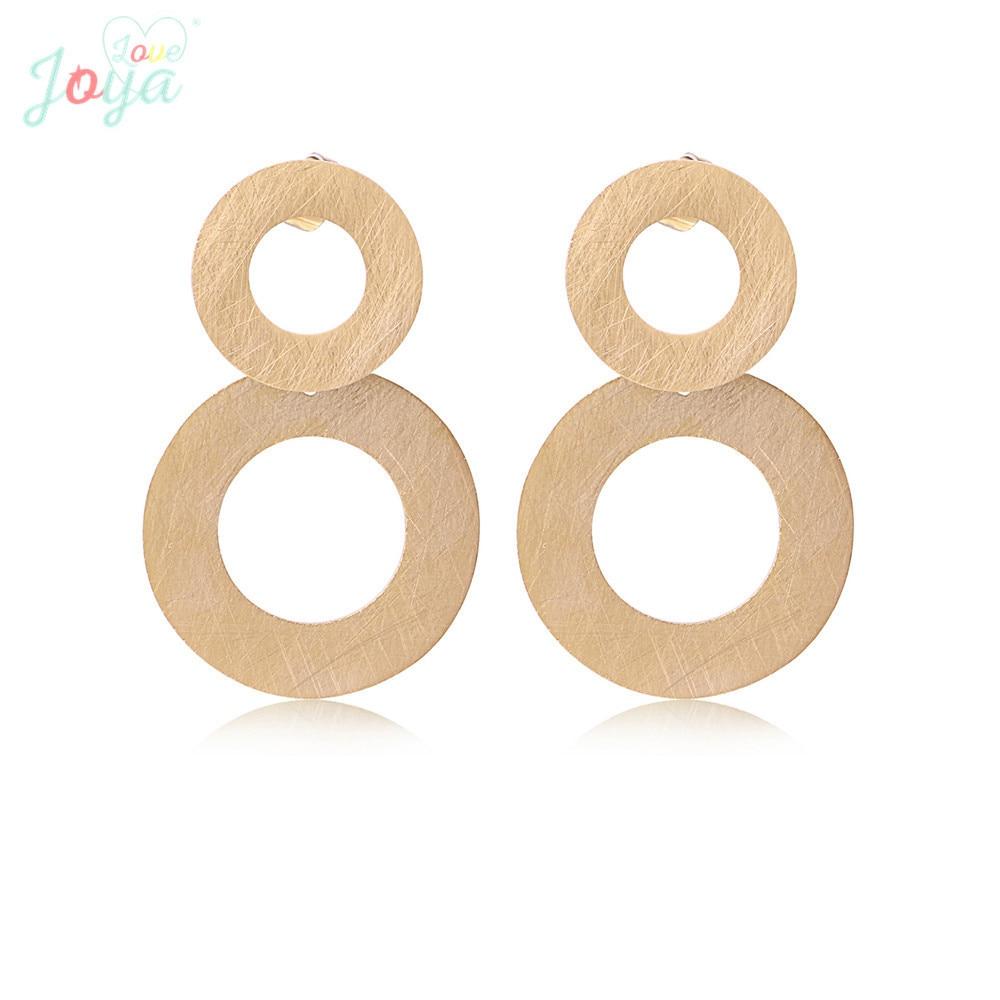 Joya Love Rose Gold Earring Stainless Steel Round Hollowing Stud Earrings Women Fashion Jewelry Punk Studs Brushed Metal in Stud Earrings from Jewelry Accessories