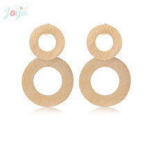 Joya Love Rose Gold Earring Stainless Steel Round Hollowing Stud Earrings Women Fashion Jewelry Punk Studs Brushed Metal
