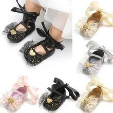 Новые Стиль для младенцев для новорожденного Прекрасный с блестками для девочек, обувь для младенцев ослепительный, сверкающий кружевная обувь на возраст от 0 до 18 месяцев