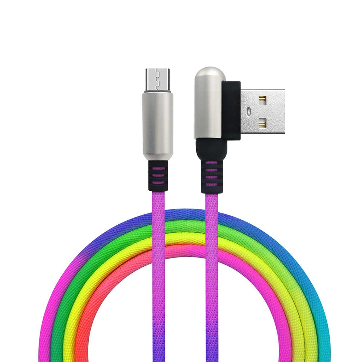SOONHUA Мода 1 м нейлоновый Дата кабель Micro usb type C быстрое зарядное устройство кабель для передачи данных градиентный металлический пружинный usb кабель для Apple LeEco