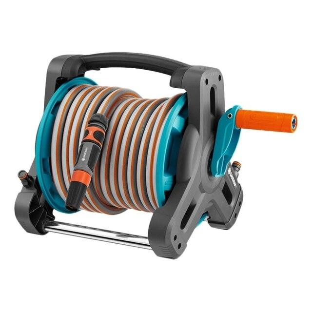 Набор поливочный GARDENA 08010-20.000.00 (В комплекте 10 м шланг 13 мм с фитингами OGS, наконечником для полива, фитинги для коннекторов, шарнирная ось, защита от течи, складня рукоятка, 3-точечное боковое соединение)