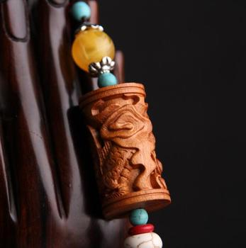 Chinese Peach Wood Carving Dragon Pillar Safe And Good Luck Exquisite Car Key Pendant Bag Pendant