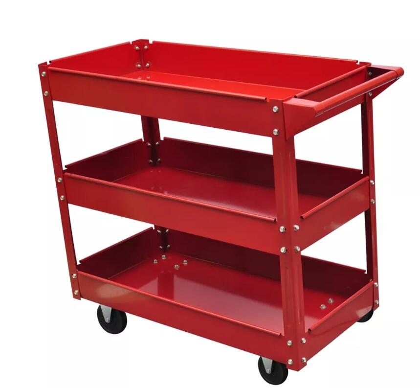 vidaXL Heavy Workshop Garage DIY Tool Storage Trolley Wheel Cart Tray 3 Tier Shelf large Capacity for Holding Heavy EquipmentvidaXL Heavy Workshop Garage DIY Tool Storage Trolley Wheel Cart Tray 3 Tier Shelf large Capacity for Holding Heavy Equipment