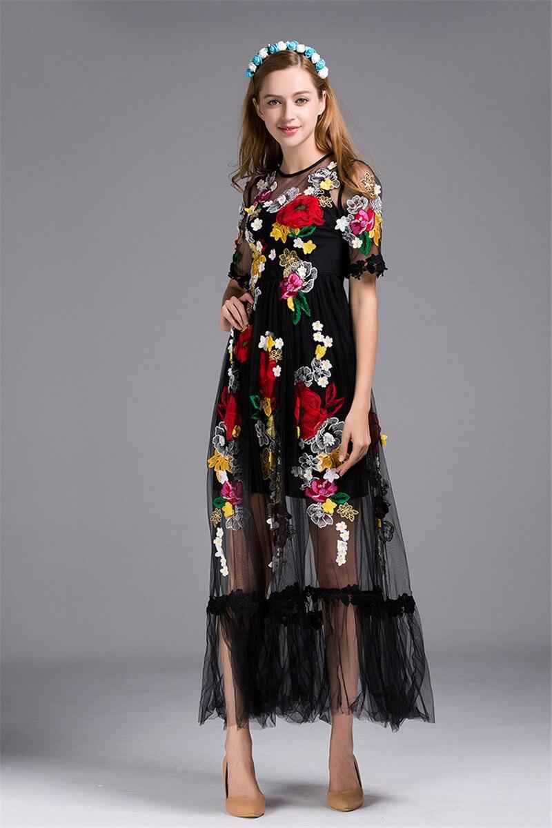 2019 printemps fleur de luxe Appliques femmes noir grande balançoire robe femmes piste voir à travers maille femme fête Maxi robes vêtements - 2