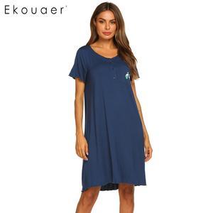 Image 2 - Ekouaer Summer Nightgown Women Sleepwear Dress O Neck Short Sleeve Front Button Pocket Decoration Chemise Night Dress