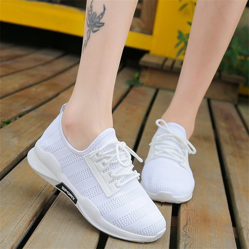 все цены на Fashion Summer Women Sneakers White Mesh Casual Women Shoes Breathable Flying Woven Sneakers Non-slip Running Woman Shoes