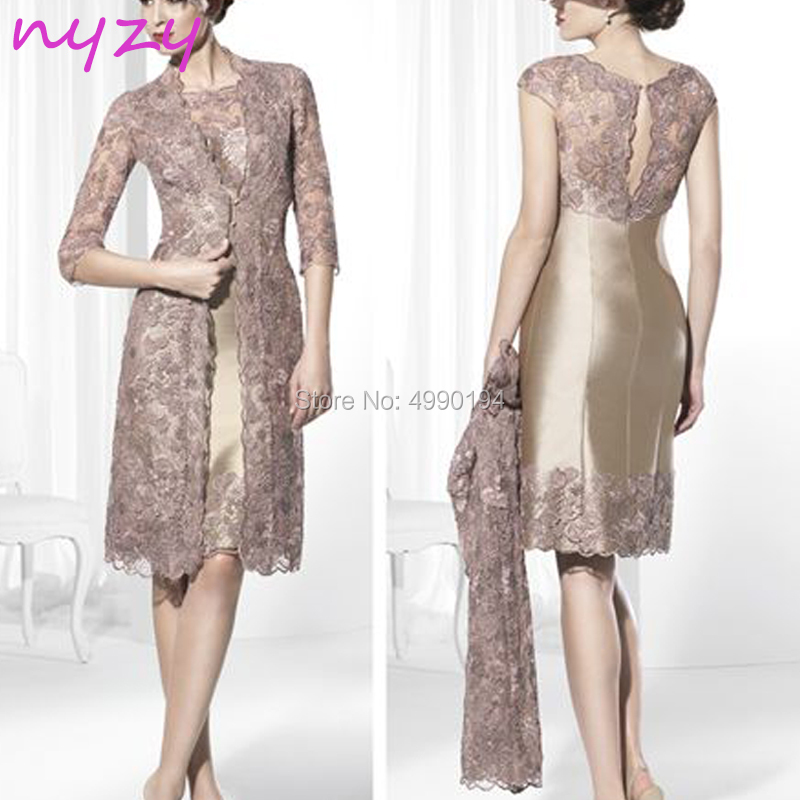 NYZY M115 Elegant 2 Piece Mother Of The Bride Dresses Champagne Lace Jacket Church Suits Wedding Party Mother Outfits Guest Wear