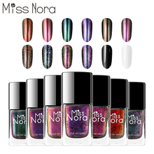 MISS NORA Magic Nail Polish 6ML Glitter Chameleon Water Bling Sequins Art Lacquer Holographic Gel Starry Black Base