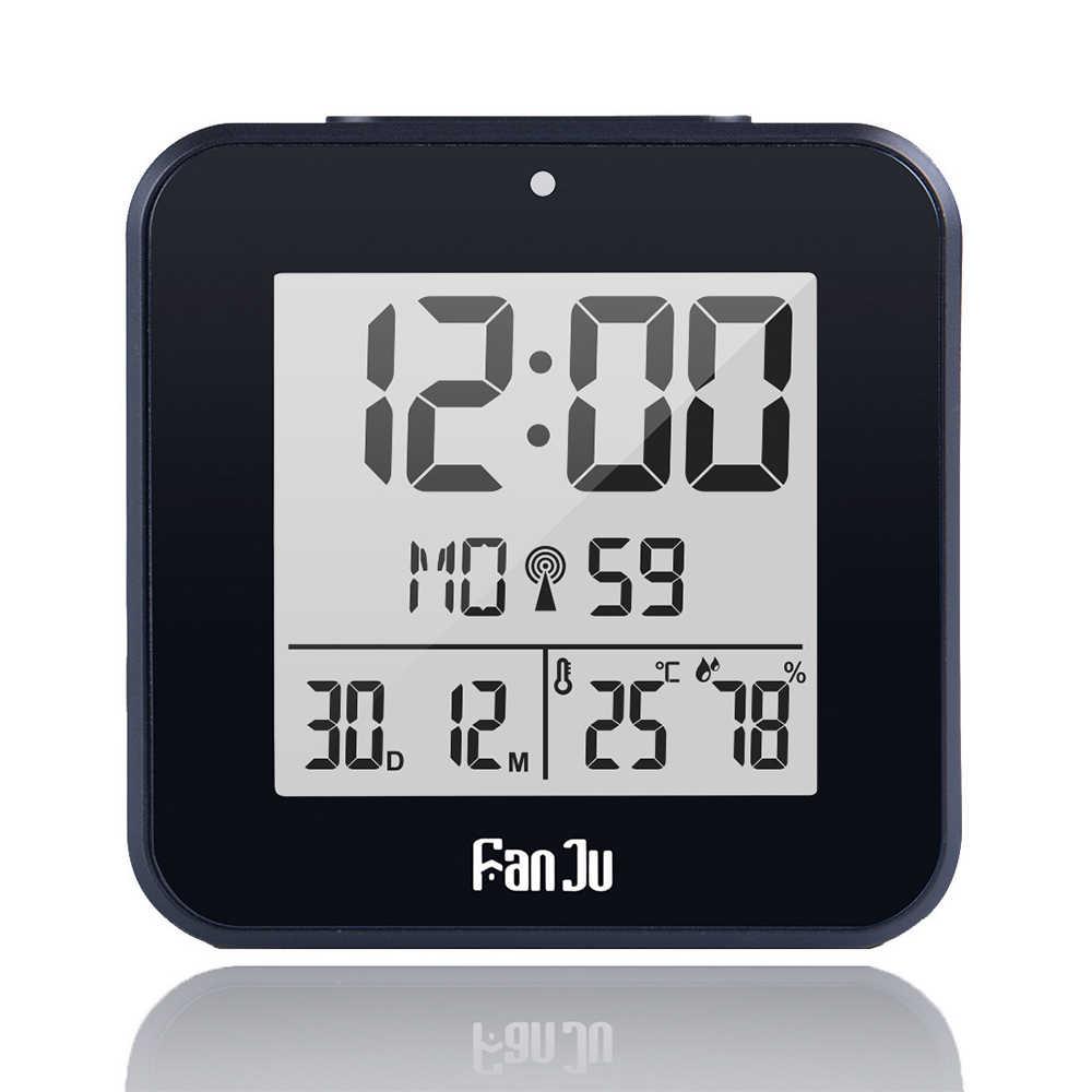 FanJu FJ3533 Kỹ Thuật Số Đồng Hồ Báo Thức LED Nhiệt Độ Độ Ẩm Kép Báo Động Tự Động Đèn Nền Snooze Ngày nhiệt kế Máy Tính Để Bàn Bảng Đồng Hồ