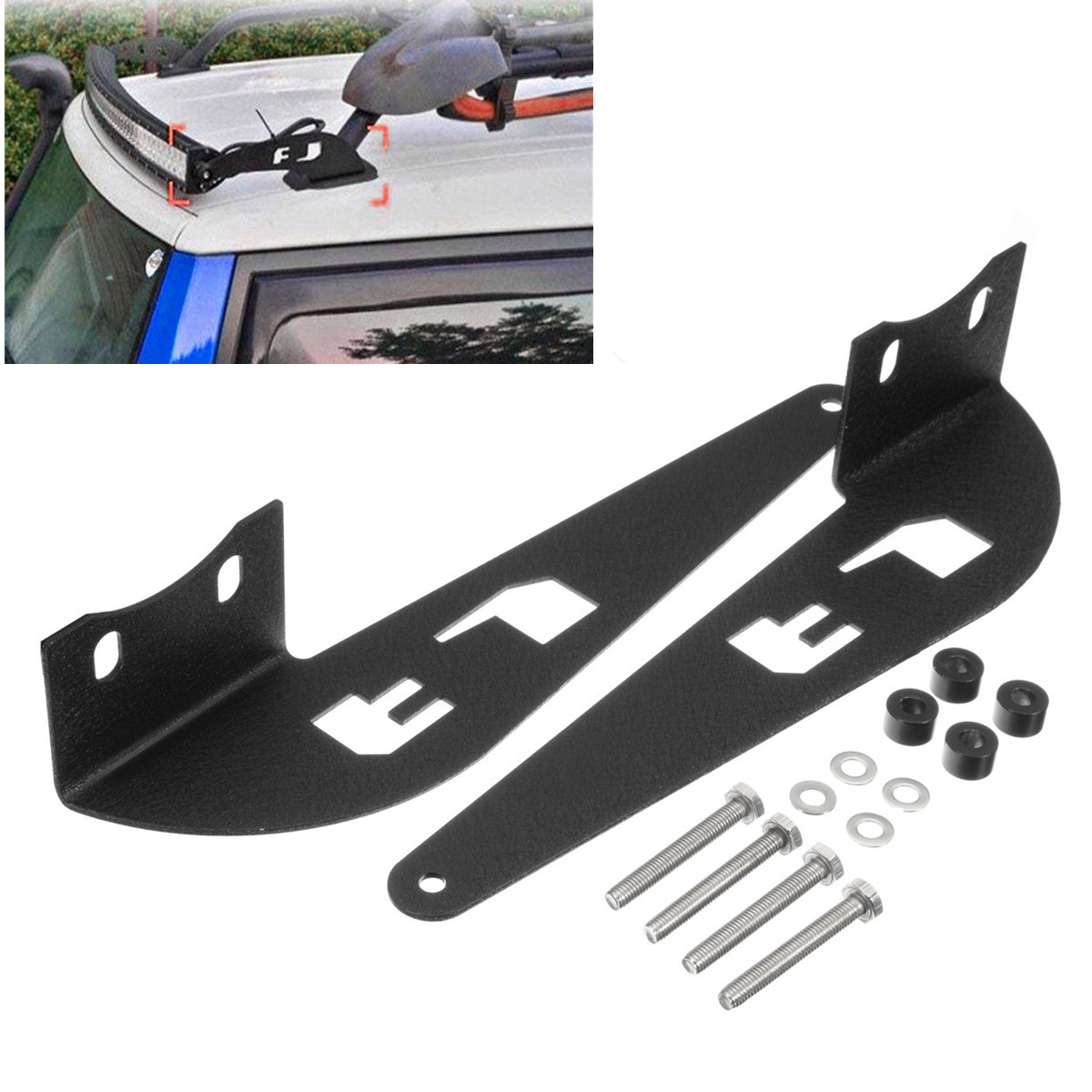 "Matt Black Roof Brackets Light Bar Mount For Toyota For FJ Cruiser 52"" Curved LED Light Bar Mounting Brackets 07-14"