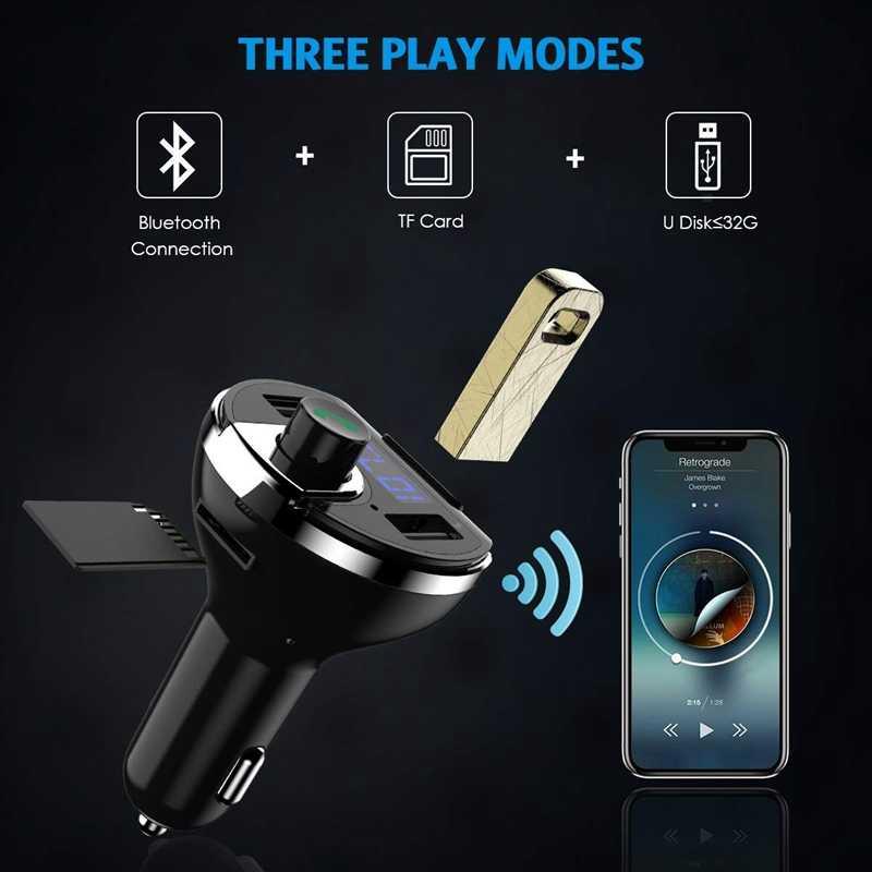 بلوتوث FM الارسال ، لاسلكي في السيارة FM جهاز إرسال لاسلكي محول عدة السيارة ، شاحن سيارة عالمية مع شحن USB مزدوج P