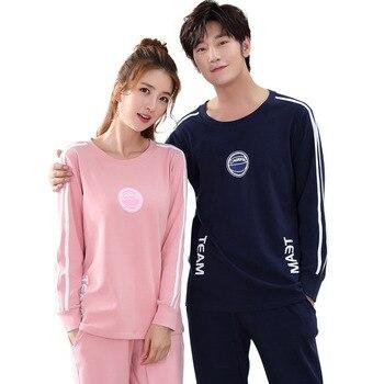 Conjunto de pijamas de algodón de manga larga para hombre y mujer versión coreana de primavera y otoño del traje lindo interior o fuera de la ropa