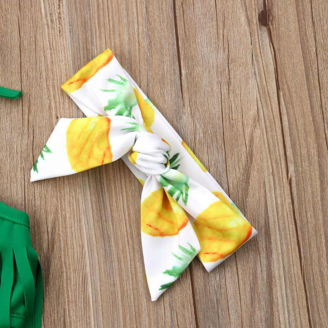 2019 New Pineapple Newborn Baby Girls Tassels Swimwear 3Pcs Children Girls Swimwear Bathing Beachwear in Swimwear from Mother Kids