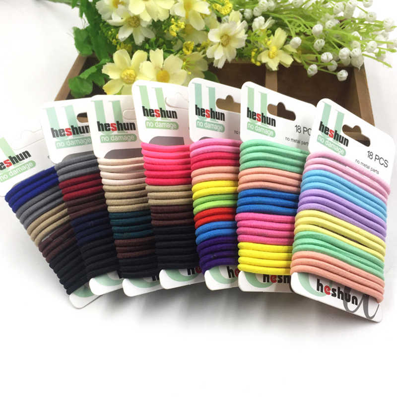 Sale 18PCS/Set Candy Women Elastic Hair Band Smiple Daily Hair Tie Set Girls Children Hair Rope Accessories