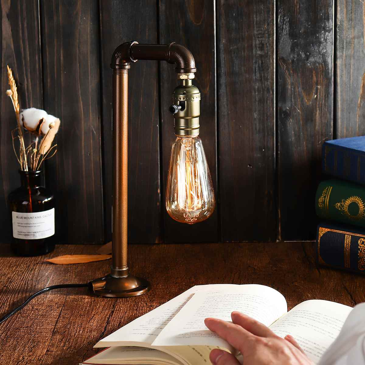 Water Pipe Industrial Table Lamp E27 Bulb Light Vintage Desk Table Lantern Lamp Fixture Indoor Lighting Home Bedroom Decoration