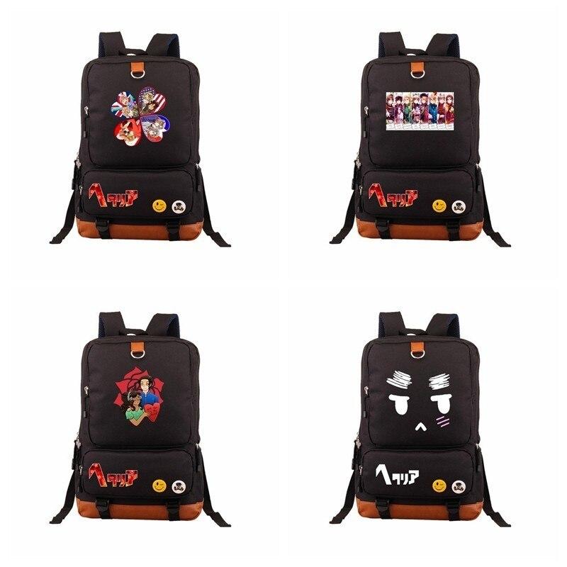 Anime Axis Powers Hetalia Backpacks Emoticon Smileys Cute Kawaii Shoulders School Bag Bookbag Laptop Traveling Backpack Rucksack