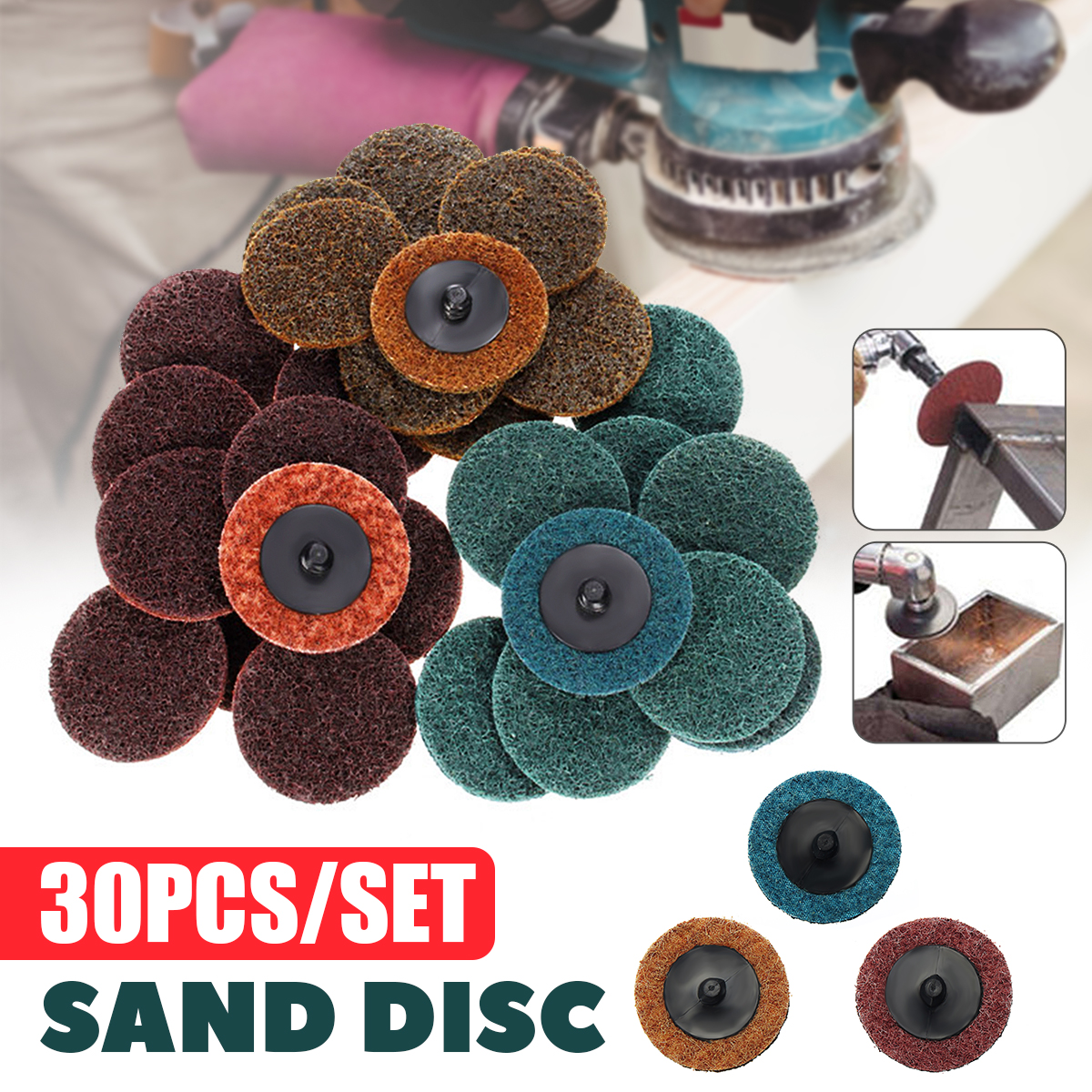 30 x 2 Sanding Roloc Roll Disc Surface Conditioning Fine Medium Coarse Prep Pad Colors <font><b>25</b></font>,<font><b>000</b></font> RPM Prep Gasket Coating Removal image