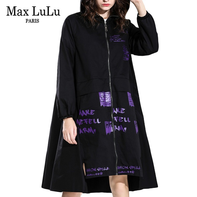 Max LuLu 2019 Spring Fashion British Ladies Black Clothes Hooded Windbreaker Womens Printed Oversized   Trench   Vintage Long Coats