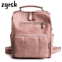Women Leather Backpack Female Teenage School Backpacks Vintage Large Multifunction Mochila Feminina Solid Shoulder Bag Bagpack