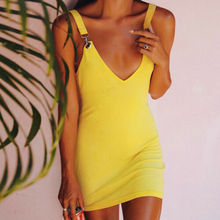 Fashion Womens Deep V-Neck Bodycon Evening Party Short Sling Dress Buckle Mini