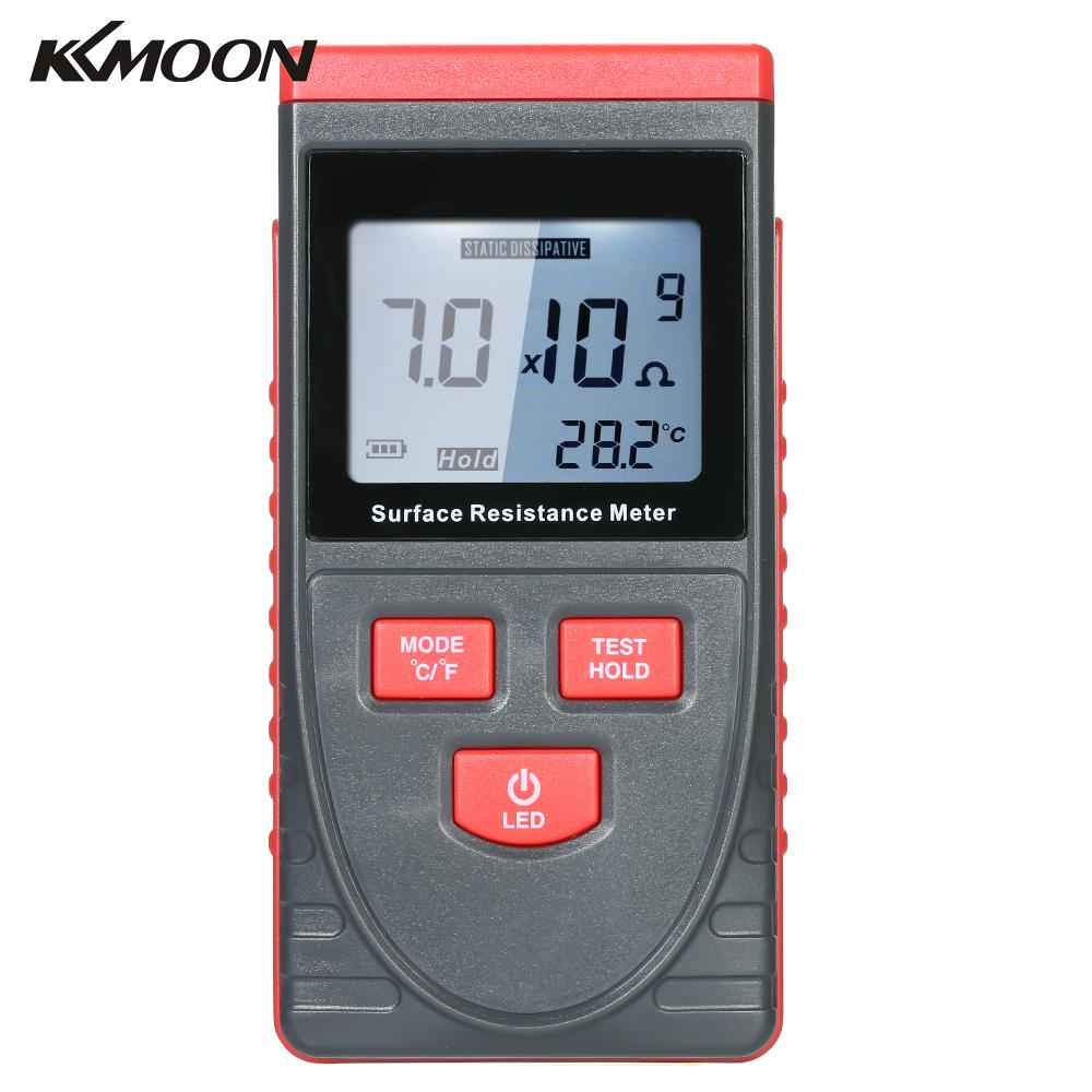 Handheld Surface Resistance Meter Anti static Insulation Resistance Tester LCD Temperature Measurement and Data Holding Function