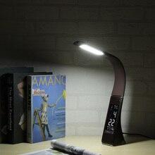 5 Вт бизнес ЖК дисплей будильник светодиодный настольная лампа с затемнением управление складной кожаный текстурный Настольный календарь 3 уровня яркости