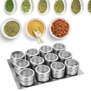 Image 1 - 9/12 Pieces Magnetic Spice Jars Set Stainless Steel Salt And Pepper Spray Shakers Spice Rack Seasoning Box Condiment Container