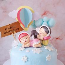 New Resin Birthday Cake Topper Cute Sleeping Baby Desktop Ornaments With Angel Wings Wedding Gifts Girl Boy A3 цена 2017