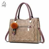 Casual Women Leather Saffiano Handbags High Quality Tote Bags Crossbody Bag Handle Bag With Tassel Fluffy Ball Hair Ball Maidy