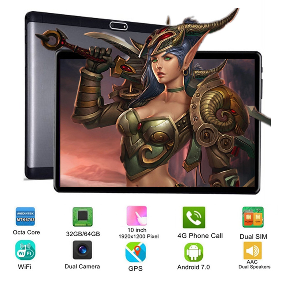 10 Inch Tablet Support Youtube Octa Core 32/64GB 3G 4G FDD LTE Phone Call Android 7.0 Tablet GPS WIFI 1920X1200 IPS Pad