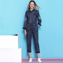 Vintage Embroidered Denim Jumpsuit Women2019 Spring New Arrival Slim Thin Drawstring Waist Casual jumpsuit mujer NW19B6027 grey casual velvet off shoulder drawstring waist jumpsuit